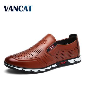 VANCAT Spring And Autumn Slip On Mens Loafers Fashion Breathable Men Casual Leather Shoes Brand Designers  Moccasins Men Shoe