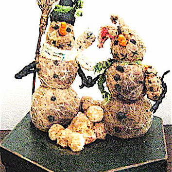 OOAK Primitive Folk Art Storybook Vignette of Snow Folk Family--WINTER on the PRAIRIE--w/Sack of 12 Snowball ornaments-an Original Design