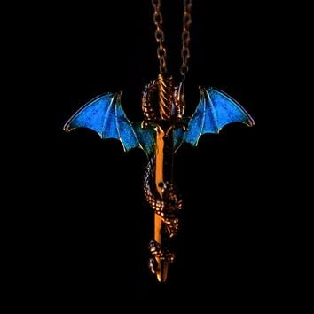 Men Sword Dragon Necklace Fashion Jewelry Accessories Vintage Luminous Glow in the Dark Long Chain Necklaces & Pendant