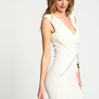 Ivory Zip Ruched Wrap Dress