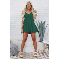 Myah Button Up Romper (Kelly Green)