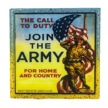 Handmade Coaster Vintage Patriotic - Join the army - Handmade Recycled Tile Coaster