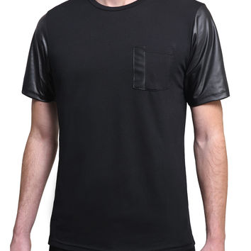 Mens Premium Faux Leather Short Sleeve T Shirt with Pocket