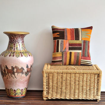 Kilim Patchwork Pillow - Geometric Pillow Cover -  Accent Pillow, Throw Pillow, Cushion Cover - Ethnic Pillow - Colorful Striped Pillow