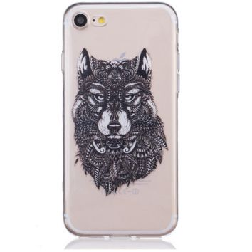 Unique creative Wolf TPU Phone Case Cover for Apple iPhone 7 7 Plus 5S 5 SE 6 6S 6 Plus 6S Plus + Nice gift box! LJ160930-005