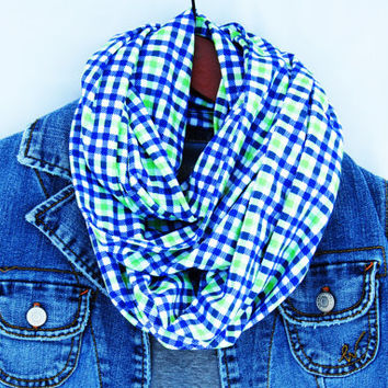 BLUE GREEN SCARF, Blue plaid scarf,  infinity scarf, t-shirt scarf, Circle scarf, loop scarf, autumn fashion, fall style