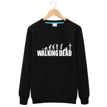 2017 Winter Long sleeves Men round neck Hoodies The Walking Dead  Daryl Dixon Sunset Zombies Graphic Leisure Tops