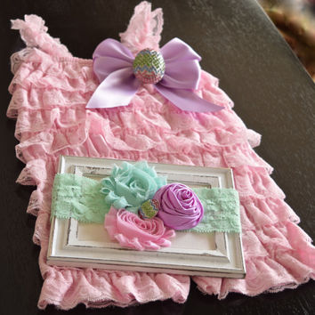 Pink Romper,Cake Smash Outfit Girls, Baby Girl Headband Set, Easter Romper, Baby Romper, Toddler Romper, Romper, Lace Romper, Girls Rompers