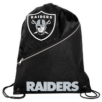 Oakland Raiders High End Diagonal Zipper Drawstring Backpack