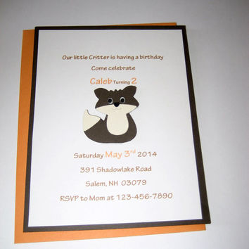 Little critter fox birthday invitation