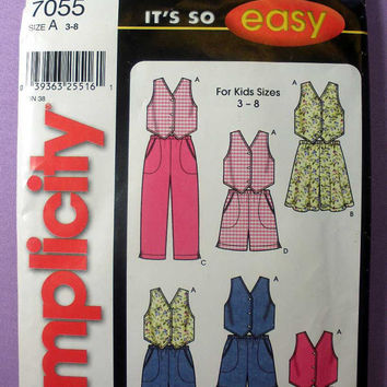 "Girl's Vest, Flared Shorts, Straight Pants or Shorts Simplicity 7055 Child Size 3, 4, 5, 6, 7, 8 Bust 22"" - 27"" Sewing Pattern Uncut"