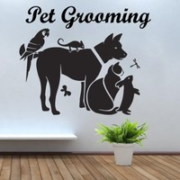 Wall Decals Quote Pet Grooming Decal Animals Vinyl Sticker Pet-Shop Grooming Salon Home Decor Art Mural Ms731
