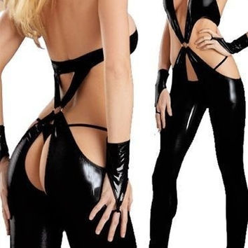 Dancer sexy costumes imitation leather paint lingerie night dance pole dancing (Size: M) = 1932546180