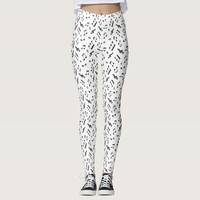 Black and White Music Notes Pattern Leggings