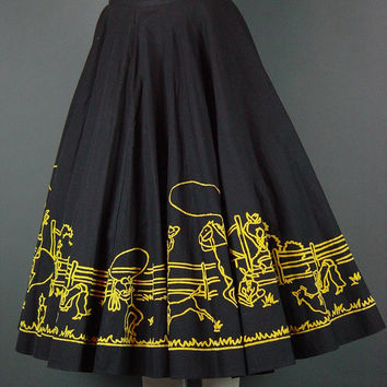 50s Western Circle Skirt Full Flocked Cowboy Cowgirl Rodeo Black Yellow Rockabilly Square Dance S