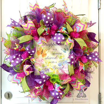 Happiness Is A Moment Shared With A Friend Ruffle Deco Mesh Wreath