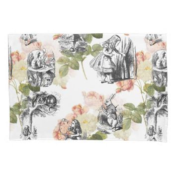 Alice in Wonderland Vintage Roses Pillow Case Pillowcase