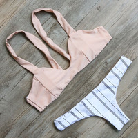 Pink Striped Style Bikini Set  Bandage Swimsuit Bathing Suit