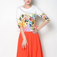 Casual Flower Printed Pleated Midi Skirt