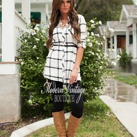 Living For The Night Plaid Tunic White