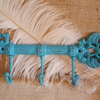Wall Hook- Key Holder -Jewelry Holder- Deep Turquoise Blue-Skeleton Key -Housewarming gift -Cast Iron-Distressed Chippy