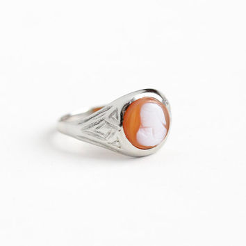 Vintage 10k White Gold Art Deco Carved Hardstone Cameo Ring - 1920s Size 2 1/2 Petite Baby Child's Pinky Ring Banded Agate Gem Fine Jewelry