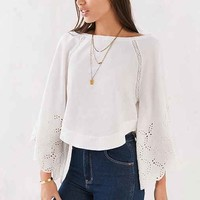 Ecote Katya Cropped Bell-Sleeve Blouse