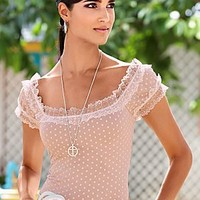 Mauve (MV) Lace Trim Top