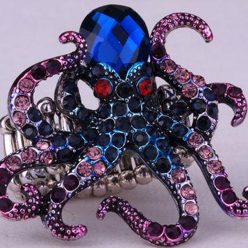 SHIPS FROM USA Octopus stretch ring for women antique gold silver color animal jewelry gifts W crystal