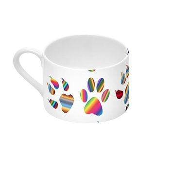 Designer Pure Bone China Coffee Cups And Saucers - Rainbow Cat Paws