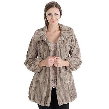 Women's Faux Fur Jacket with Faux Leather Belt