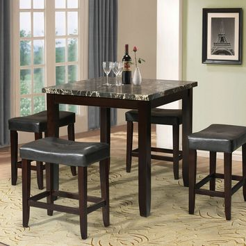 5 pc Ainsley square black faux marble espresso finish wood counter height dining table set
