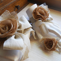 Rustic Shabby Chic Wrist Corsage, Boutonniere, cotton fabric, burlap, lace, natural brown tones, country wedding. Made to Order.