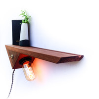 W/S Entryway / Bedside Catch-All, Floating Shelf, Edison Lamp
