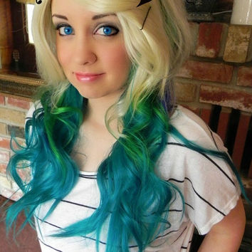 Wild and Reckless / Teal / Short Straight A Line Wig by ExandOh