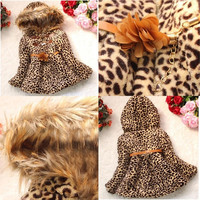 2014 Baby Girls Faux Fur Leopard Hoodies Coat Kids Winter Warm Jacket Snowsuit = 1931684996