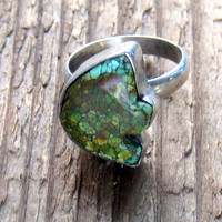 Turquoise Zuni Bear Sterling Silver Statement Ring Vintage