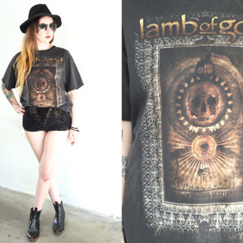 Vintage LAMB OF GOD Black Band T shirt Tee // Metal Hipster Biker // Small / Medium / Large