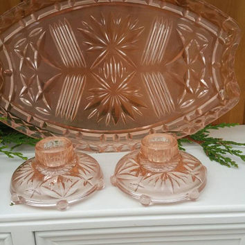 Pink pressed glass depression glass dressing table set tray and 2 candle holders vintage 1930s pale pink peach glass ships worldwide from UK