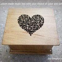 heart, love, music box, anniversary gift, wooden music box, custom music box, personalized music box, simplycoolgifts, cool gifts
