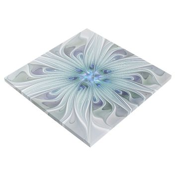 Floral Beauty Abstract Modern Blue Pastel Flower Gallery Wrap