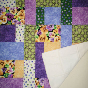 Blanket Throw Mothers Day Gift for Grandma Lap Quilted Cover Spring Home Decor Handmade Floral Table Topper Birthday Unique Gift For Mom