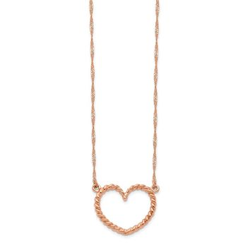 14K Rose Gold Polished & Textured Heart Necklace 17 Inch