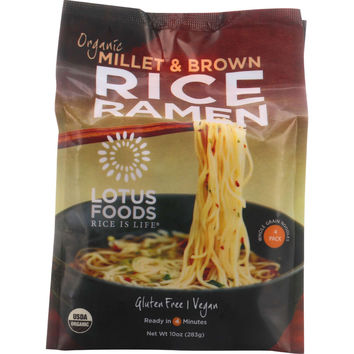 Lotus Foods Ramen - Organic - Millet and Brown Rice - 4 Ramen Cakes - 10 oz - case of 6