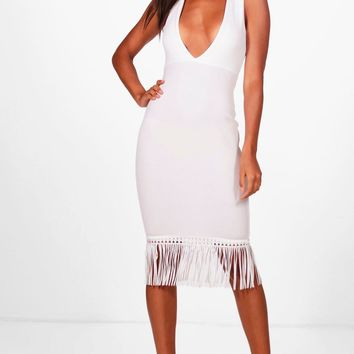 Albany Plunge and Tassle Hem Midi Dress | Boohoo