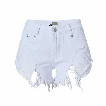 Summer high waist shorts white ripped mini denim jeans shorts women short sexy designer feminino hot plus size  bottoms 2017