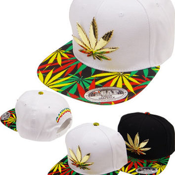 * Marihuana Metal Snapback In White