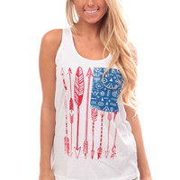Red White and Blue Arrow Print Tank