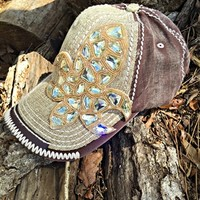 Fleurdelis Jeweled Linen Trucker Hat - Natural