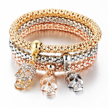 3Pcs/set Crystal Music Bracelet Rhinestone Charm Skull Gold Color Heart  Party Jewellery Bracelets&Bangles For Women 2017 Love